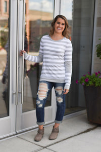 Everly Striped Color Block Long Sleeve Tee - Heather Gray/White