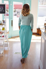 Kate Striped Pocket Maxi Dress With Waist Tie - Mint