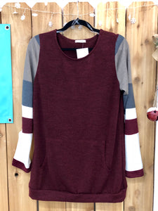 Color Block Sweater - Burgundy
