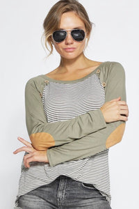 Haven Striped Elbow Patch Raglan Tee - Olive