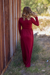 Long Sleeve Maxi Dress - Wine