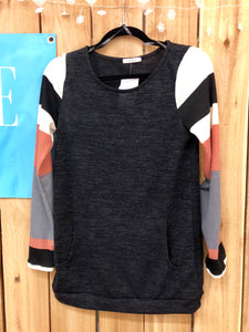 Color Block Sweater - Charcoal