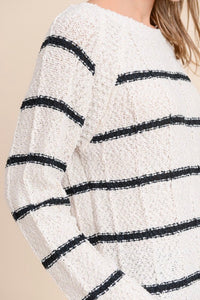 Cici Striped Popcorn Sweater