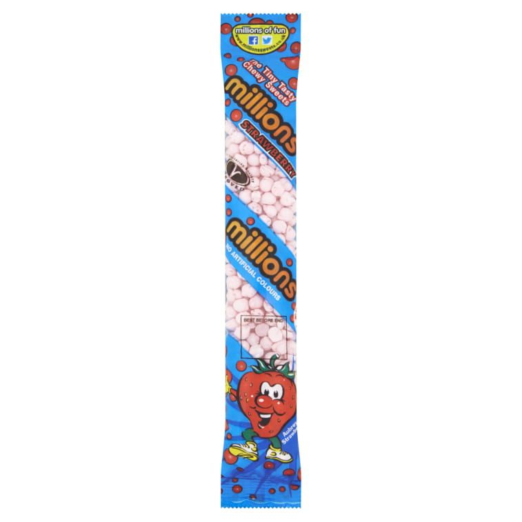 MILLIONS THE TINY TASTY CHEWY SWEETS STRAWBERRY FLAVOR ( UK ) 60G