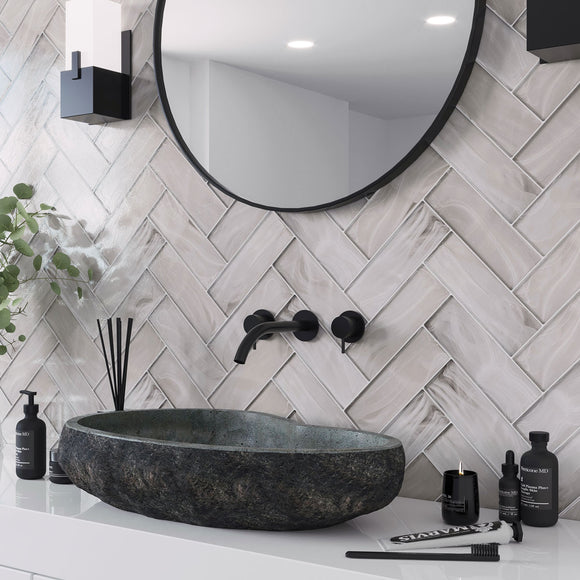 White Marble and Mother of Pearl Bathroom Tile