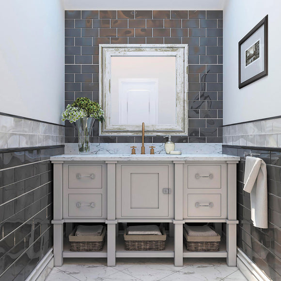 Glacier Gray Glass Subway Tile Bathroom