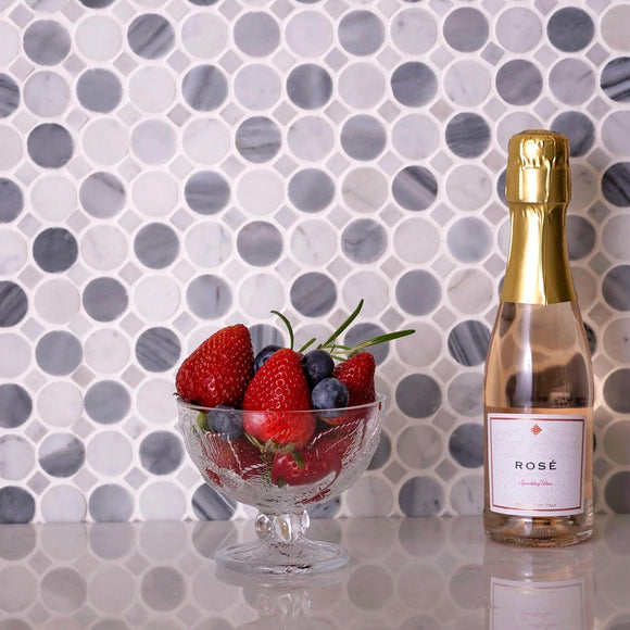 Bardiglio Penny Round & Carrara Dot Marble Mosaic Tile