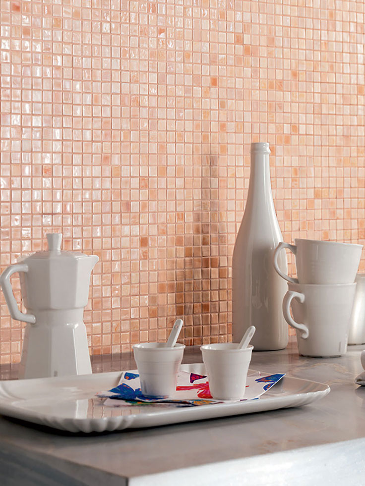 Peach Glass Mosaic Backsplash Tile adds Shine and Color to your Home