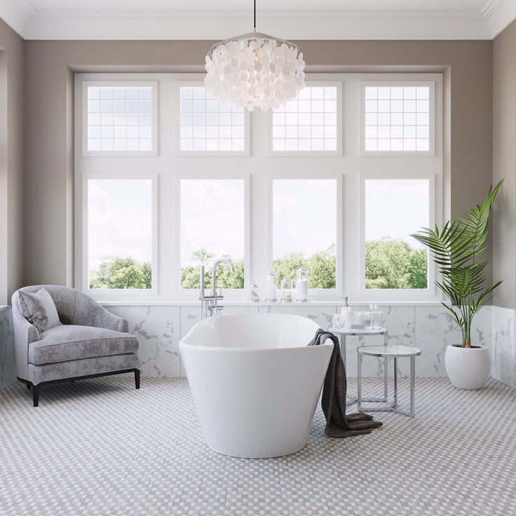 Greige Master Bathroom with Soothing Neutral Paint and Floor Tiles