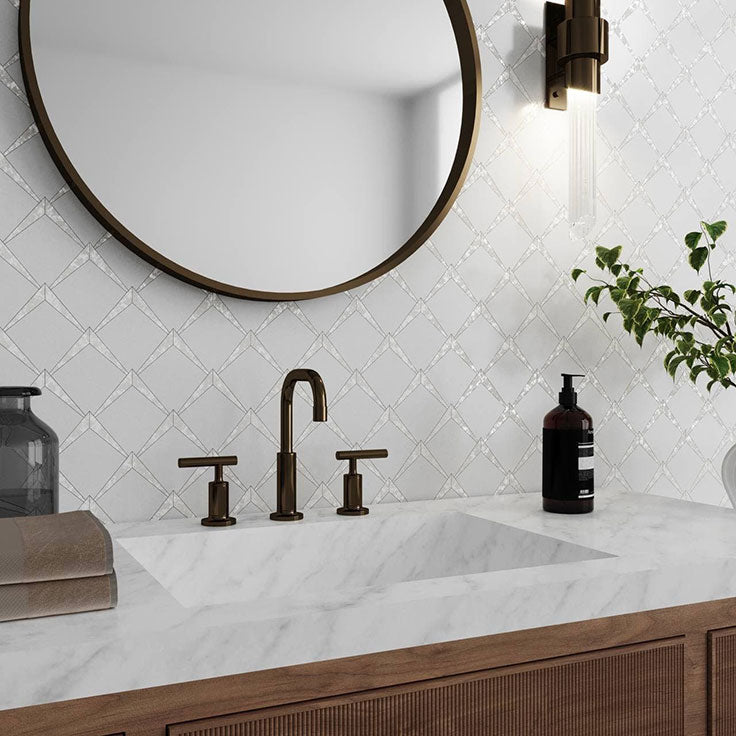 White Marble and Pearl Arrowhead Tile for a Jewelry Box Bathroom