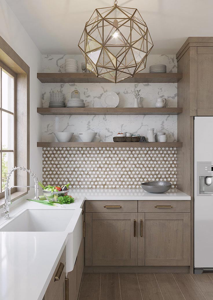 How to source this wood-look farmhouse kitchen with faceted glass lighting fixture and hexagon backsplash tile