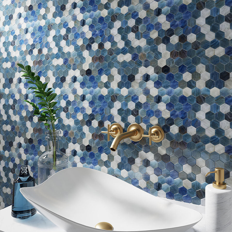 Colorful Blue and White Glass Hexagon Mosaic
