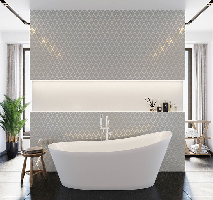 Art Deco Bathroom Wall with Frosted White and Chrome Glass Tile