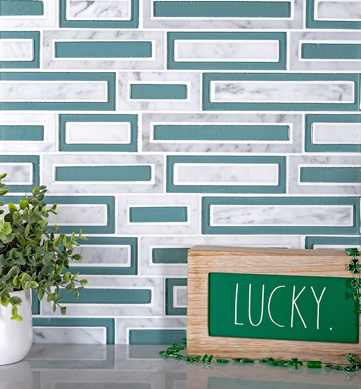Carrara Marble and Green Glass Brick Tile Pattern