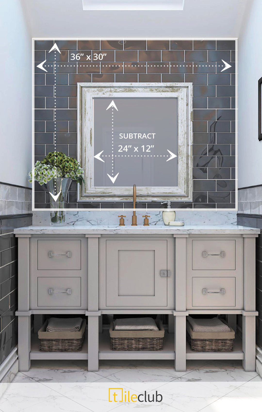 Measure Your Bathroom and Calculate Tile in Glacier Gray Polished Glass Subway Tile