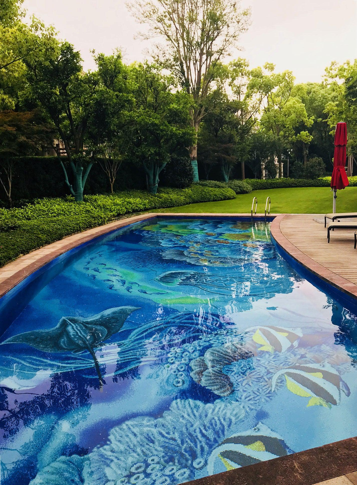 A Custom Pool Tile Mural Turns your Yard into Paradise