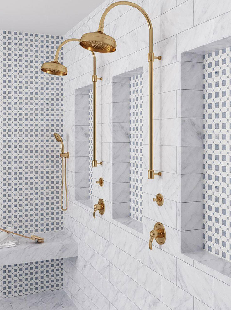 Blue and White Marble Shower with Brass Shower Heads with Design Tips on How to Pair Tile Designs Together