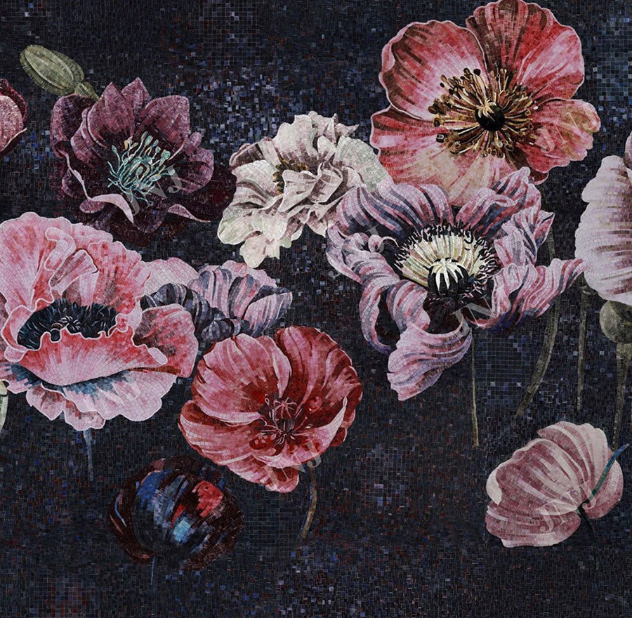 Moody Black and Mauve Flower Tile Mosaic Statement Wall Art