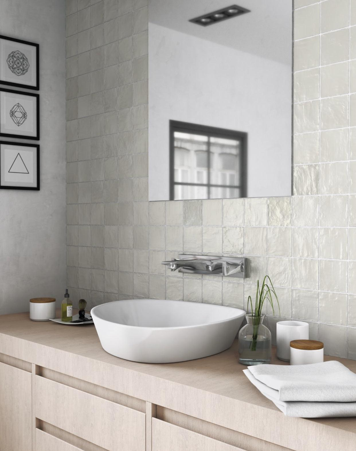 Bathroom Remodeling Ideas with Green Ceramic Artisan Tiles for a Minimalist Vanity