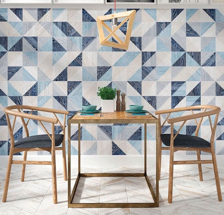 Decorative wall tiles in geometric blue shapes for a creative interior
