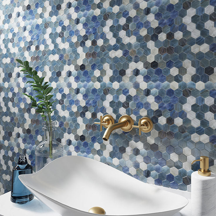 This incredible Blue and White Hexagon Glass Mosaic Tile backsplash is just one example of the countless shapes glass tile can take on to fit any space.