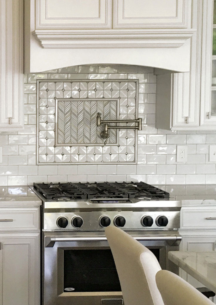 How to Pair Tiles - White Ceramic Backsplash Inset with Subway and Mosaic Tiles