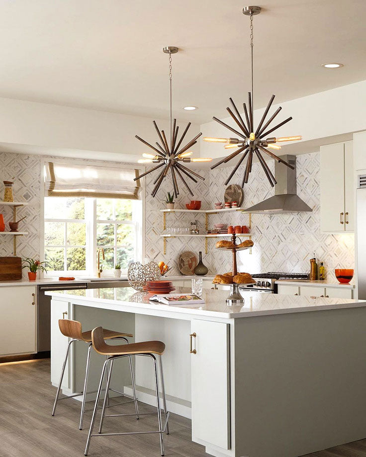 Modern Kitchen with Diamond Patterned Tile and Industrial Light Fixtures over the Waterfall Island