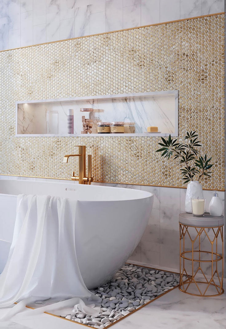 Gold Glass Penny Round Tiles add a Precious Shine to your Luxury Bathroom