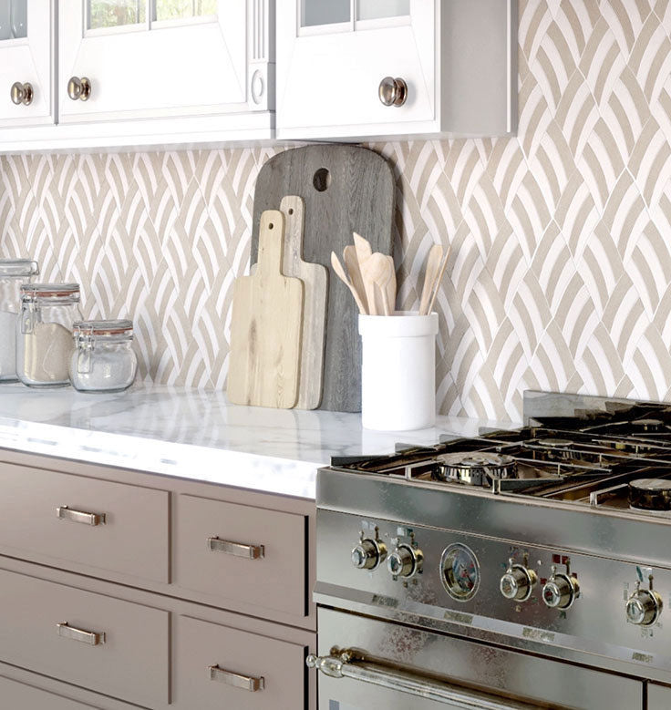 Create a welcoming environment in your kitchen with patterned neutral backsplash tiles