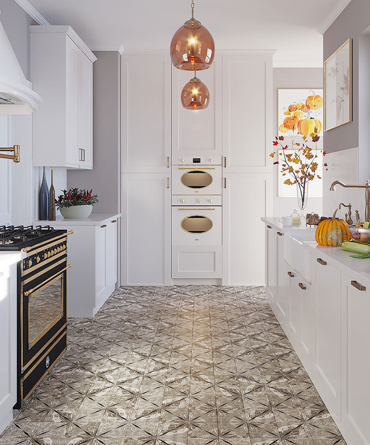 Patterned Kitchen Floor Tile with Marble Mosaics