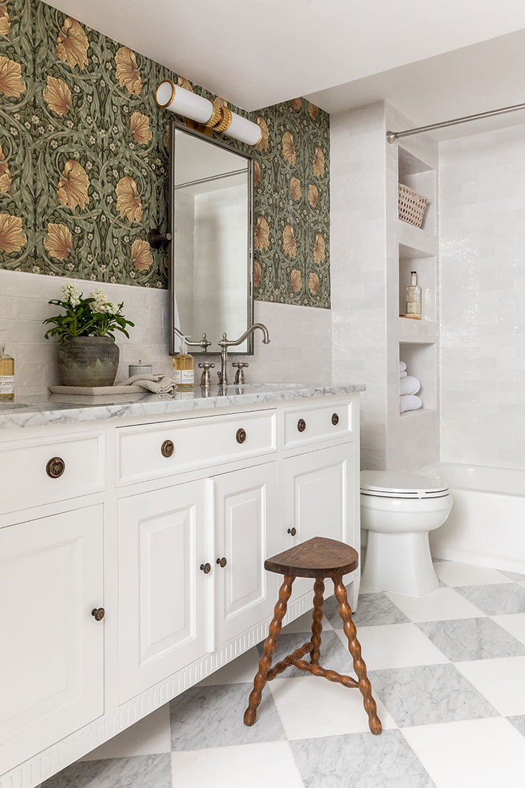 Basement Bathroom Remodel by House of Jade with White Ceramic Subway Tiles and Checkerboard Floor Tiles