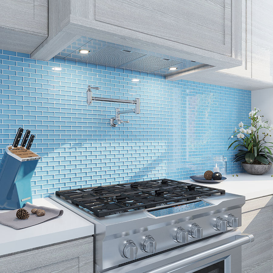 Blue Glass Brick Mosaic Tile Backsplash for a White and Stainless Steel Kitchen