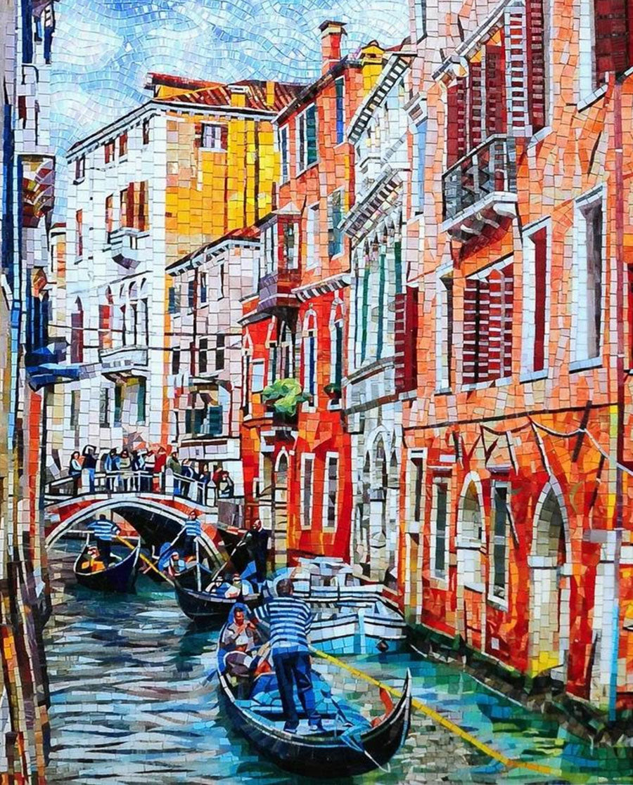 Custom Tile Mosaic Recreating a Beautiful Moment on the Canals in Venice