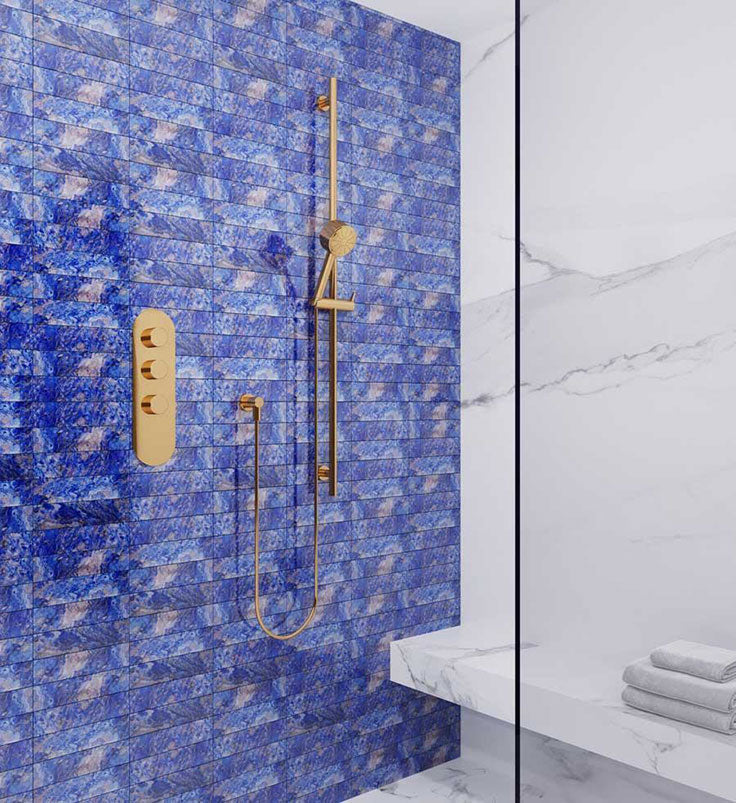 Add a Sapphire Bathroom Touch with Gemstone Patterned Sapphire Blue Glass Tiles