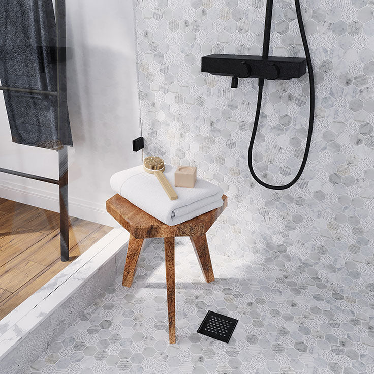 Textured Carrara marble hexagon mosaic tile for shower walls and floors