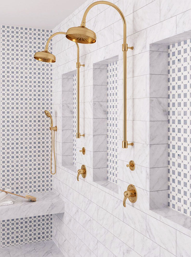 Marble Shower with Subway Tiles and Patterned Niche Details with Marble Mosaics