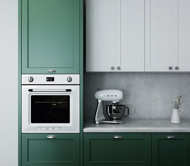 Minimalist Modern Kitchen Trends with Green Cabinet Paint and Stone Look Porcelain Tile for a Gray Backsplash