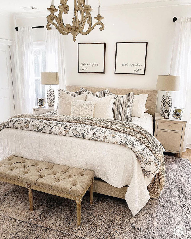 How to mix patterns in a neutral boho farmhouse bedroom