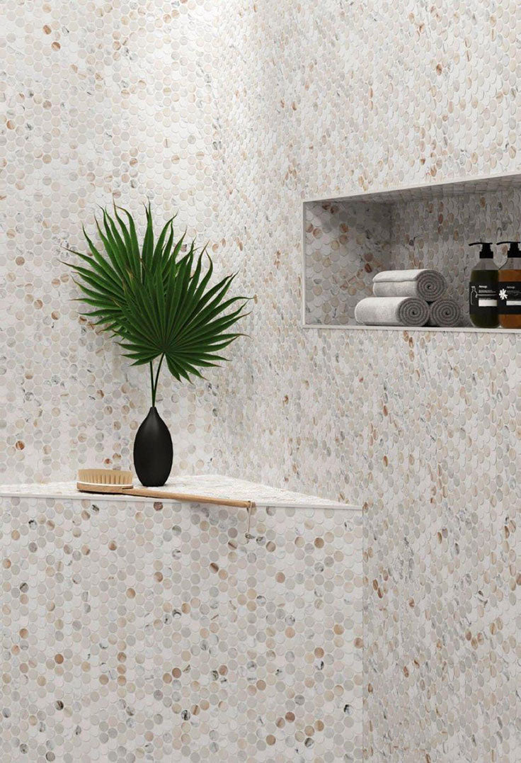 Calacatta Gold Marble Penny Tile Shower