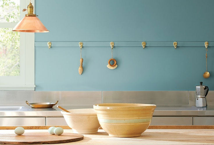 Benjamin Moore Color of the Year 2021 Aegean Teal Kitchen with Copper and Yellow