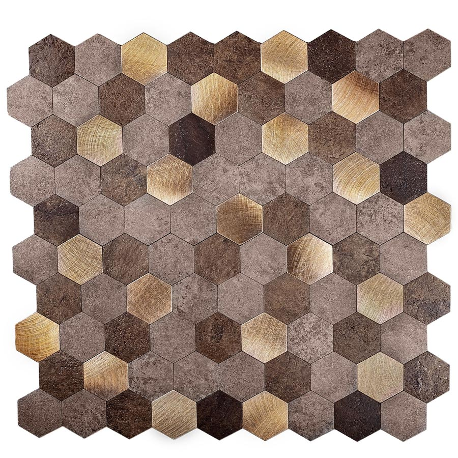 "1.25"" Gold and Beige Hexagon Peel and Stick Tile"