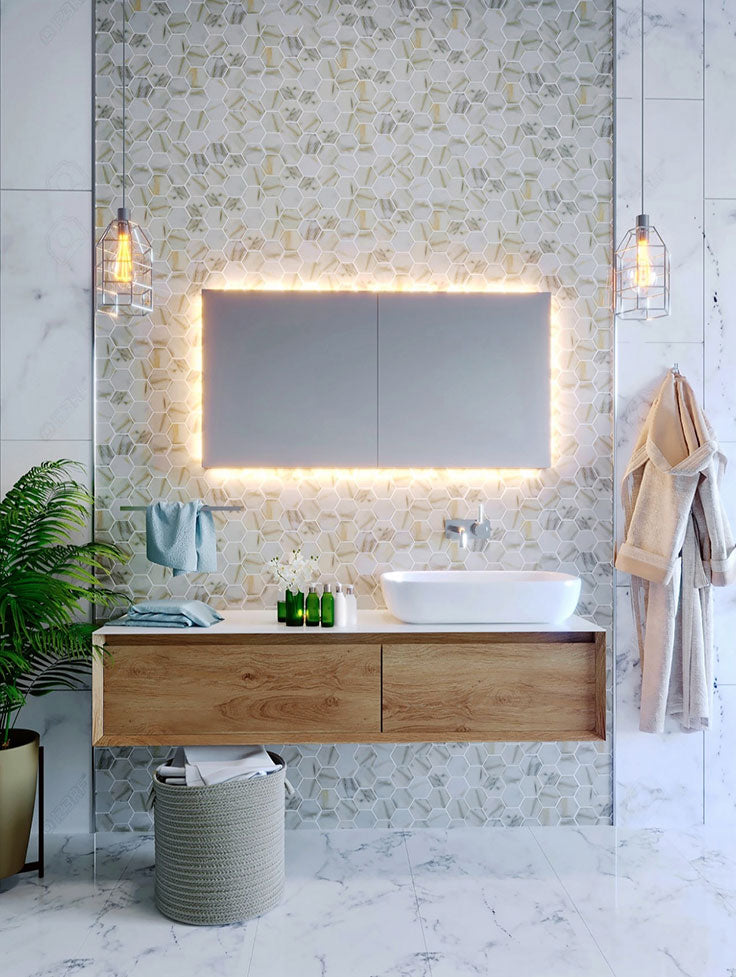 Contemporary Bathroom with a Floating Vanity and Recycled Glass Hexagon Tile Backsplash