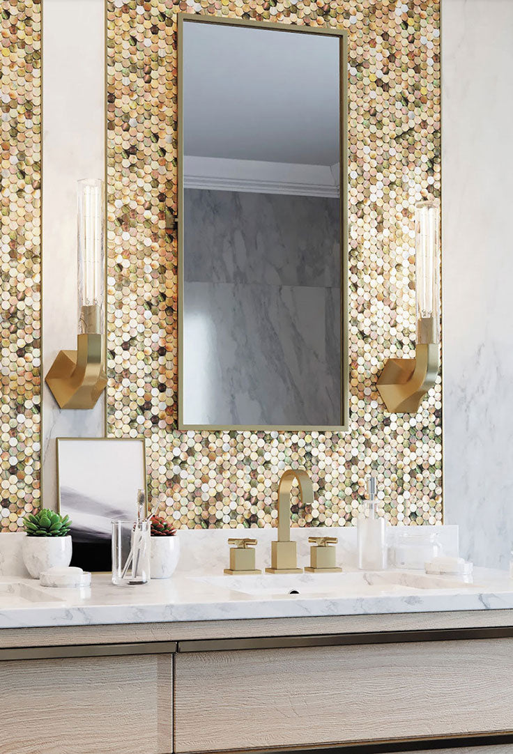 Modern Gold Bathroom with Shell Penny Round Tiles