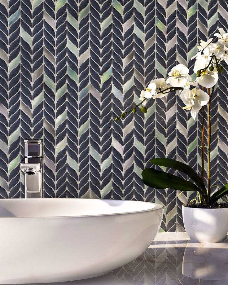 Get in touch with nature while supporting sustainability with a Blue Leaf Recycled Glass Mosaic Tile Backsplash!