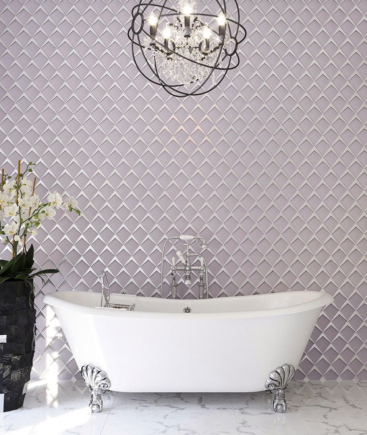 Blush Pink Glass Tiles for a Vintage Jewelry Box Bathroom Wall