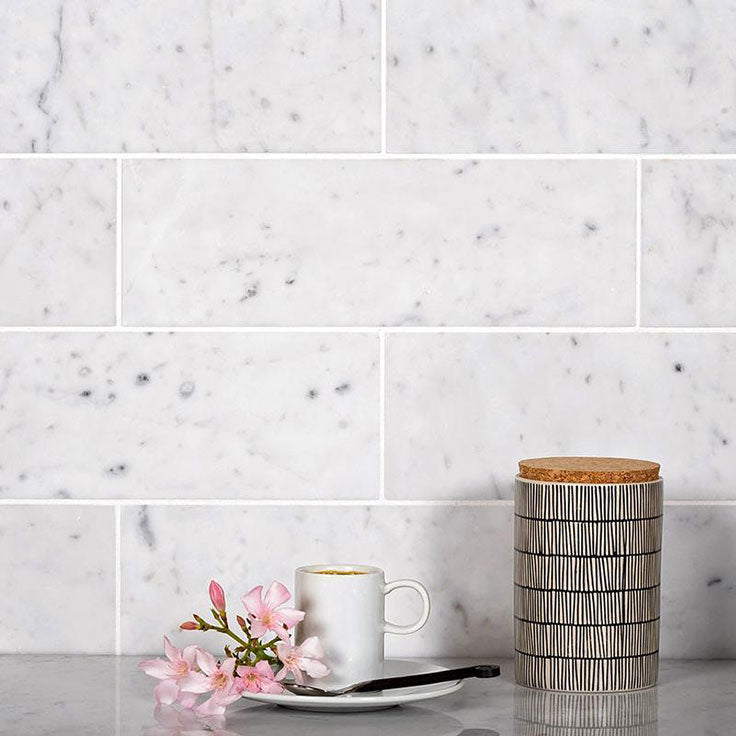 Carrara Marble Subway Tiles for a Traditional Kitchen Design