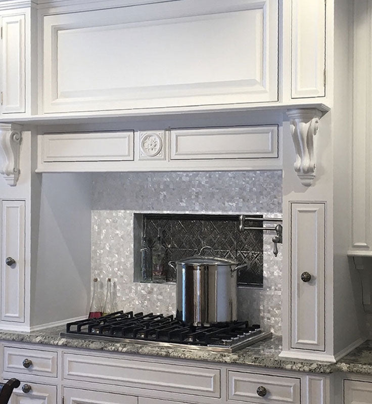 Luxe White Mother of Pearl Square Shell Backsplash Tile for a White Kitchen with Sparkle