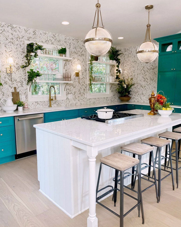 Kitchen Transformation - Bold Green Cabinet Paint and Marble-Look Herringbone Tiles made of Recycled Glass