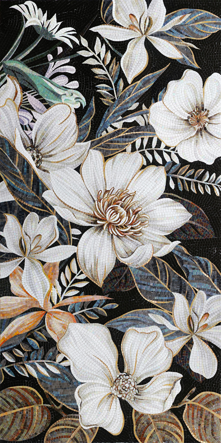 Intricate Glass Tile Mosaic Mural of Flowers to Create a Glamorous Design on your Wall or Floor