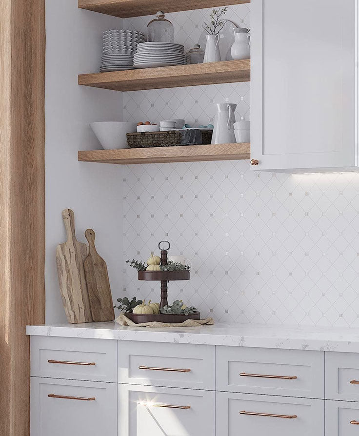 Add Pattern to a White Marble Kitchen with Thassos and Mother of Pearl Mosaic Tiles